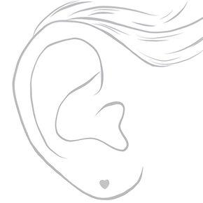 Mini clous d'oreilles cœur en argent,