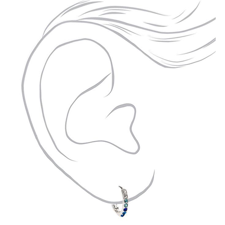 Silver 10MM Embellished Huggie Hoop Earrings - Blue,