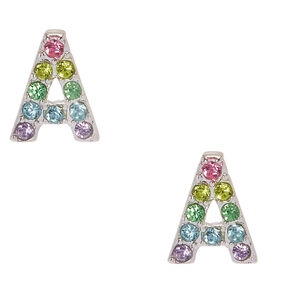 Silver Pastel Embellished Initial Stud Earrings - A,