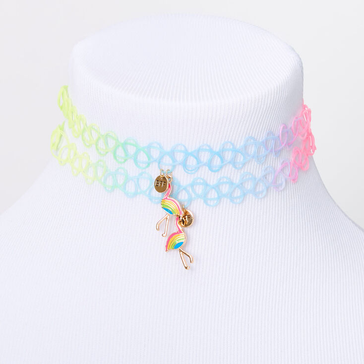 Best Friends Rainbow Flamingo Tattoo Choker Necklaces - 2 Pack,