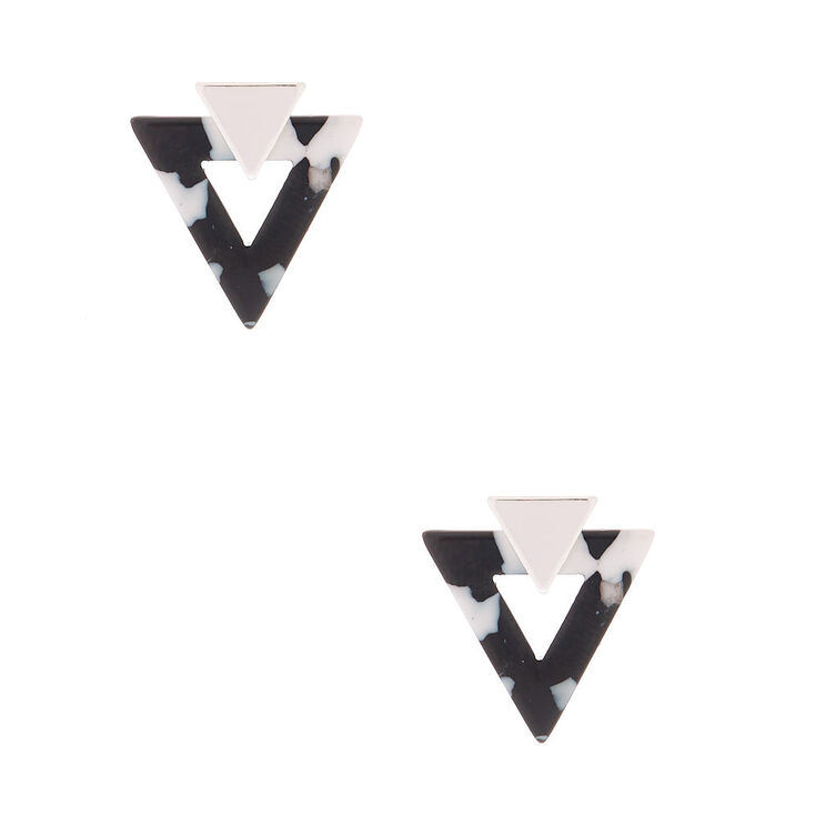 Silver Triangle Resin Stud Earrings - Black,