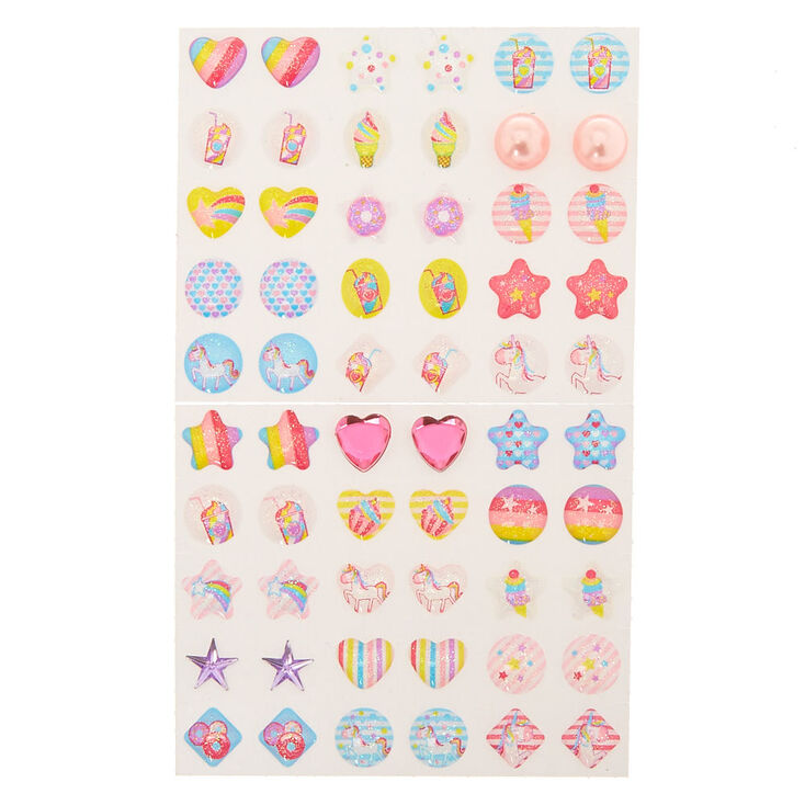 Claire's Club Unicorn Magic Stick On Earrings - 30 Pack,