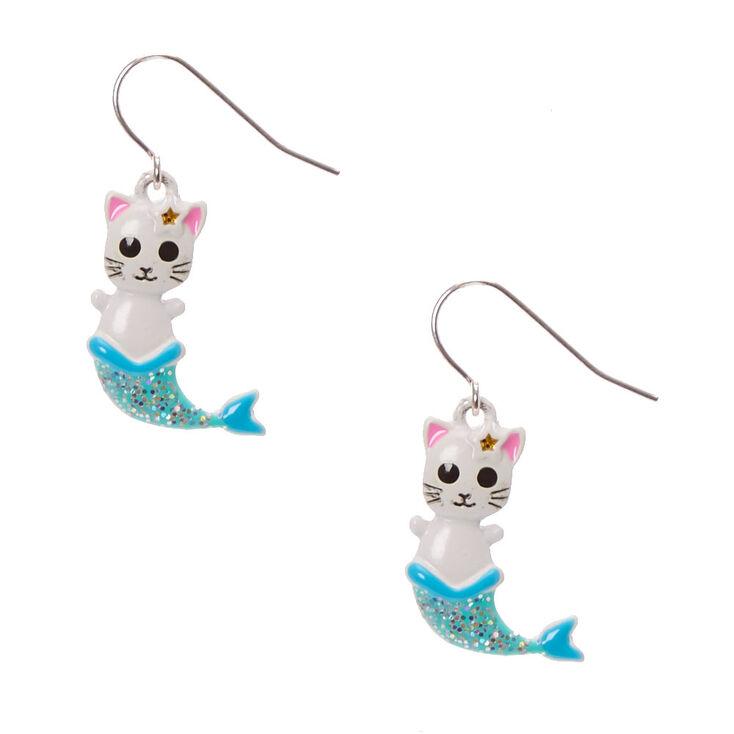 Boucles d'oreilles pendantes chat-sirène,