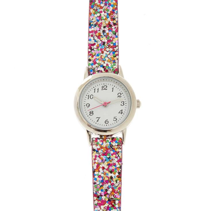 Skinny Rainbow Glitter Watch,