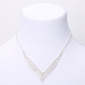 Silver Rhinestone Scalloped Chevron Statement Necklace,