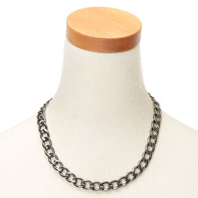 Hematite Heavy Chain Necklace,