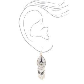 """Silver 3"""" Threaded Drop Earrings - Black,"""