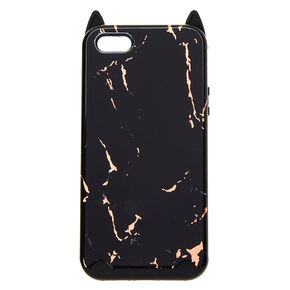 Black Marble Cat Protective Phone Case - Fits iPhone 5/5S,