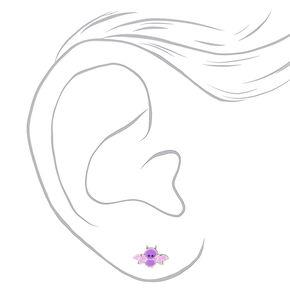 Sterling Silver Bat Stud Earrings - Purple,