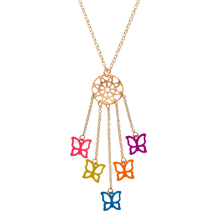 Butterfly dreamcatcher pendant necklace claires butterfly dreamcatcher pendant necklace mozeypictures Image collections