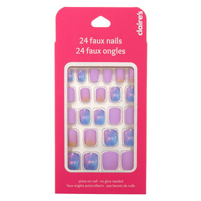 Space Glitter Square Press On Faux Nail Set - Purple, 24 Pack,