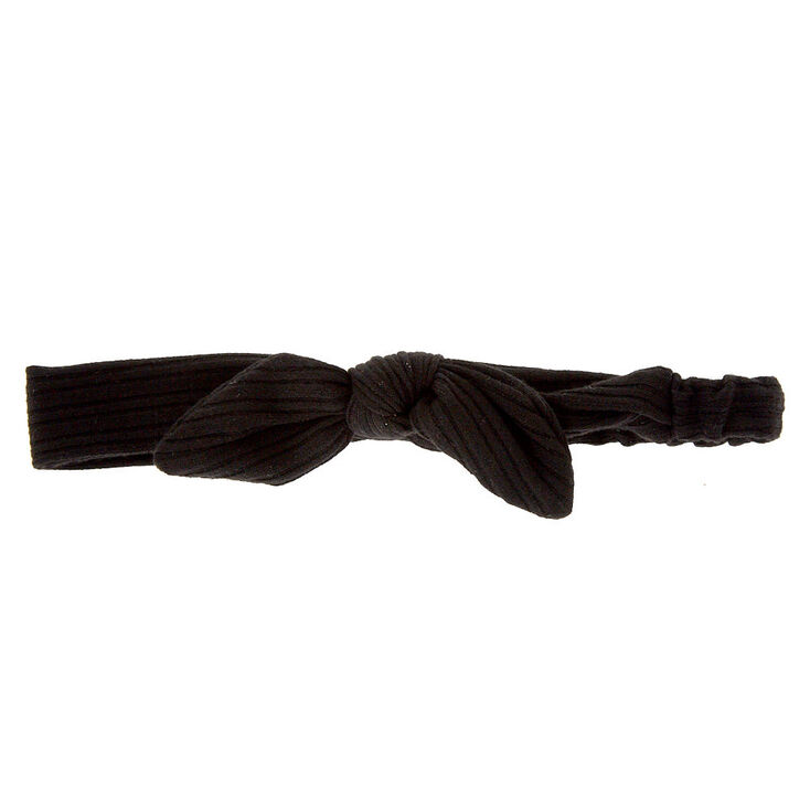 Ribbed Knot Bow Headwrap - Black,