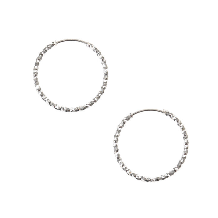Silver 20MM Laser Cut Hoop Earrings,