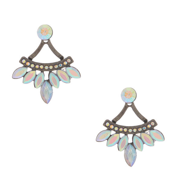 Claire's - hematite crystal ear jacket earrings - 1