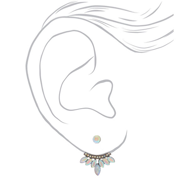 Claire's - hematite crystal ear jacket earrings - 2