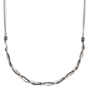 Silver Twisted Mesh Statement Necklace,