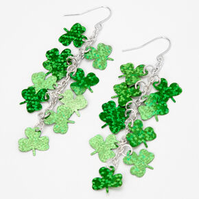 3'' Foil Shamrock Drop Earrings - Green,
