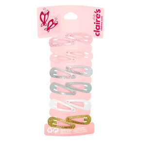 Claire's Club Glitter Mini Snap Hair Clips - 12 Pack,