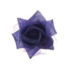 Chiffon Flower Hair Clip - Navy,