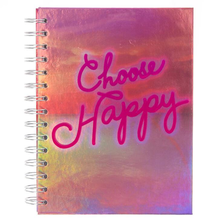 Carnet à spirales lumières fluo «Choose Happy»,