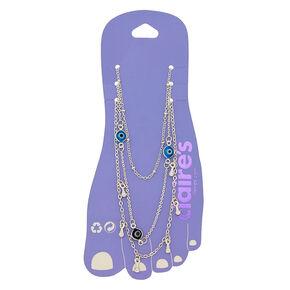 Bracelets de cheville mauvais œil couleur argentée - Turquoise, lot de 3,