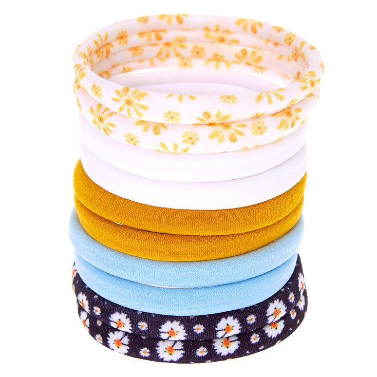 Blue & Yellow Daisy Rolled Hair Ties - 10 Pack,