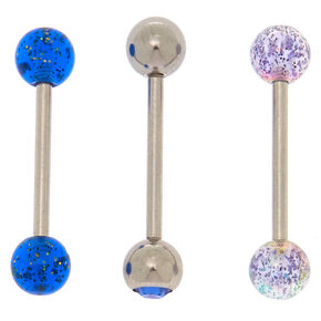 Silver 14G Mystical Barbell Tongue Rings - 3 Pack,