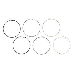 Mixed Metal Graduated Hoop Earrings - 3 Pack,