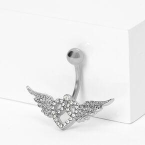 Piercing de nombril ailes cœur 1,6mm couleur argentée,