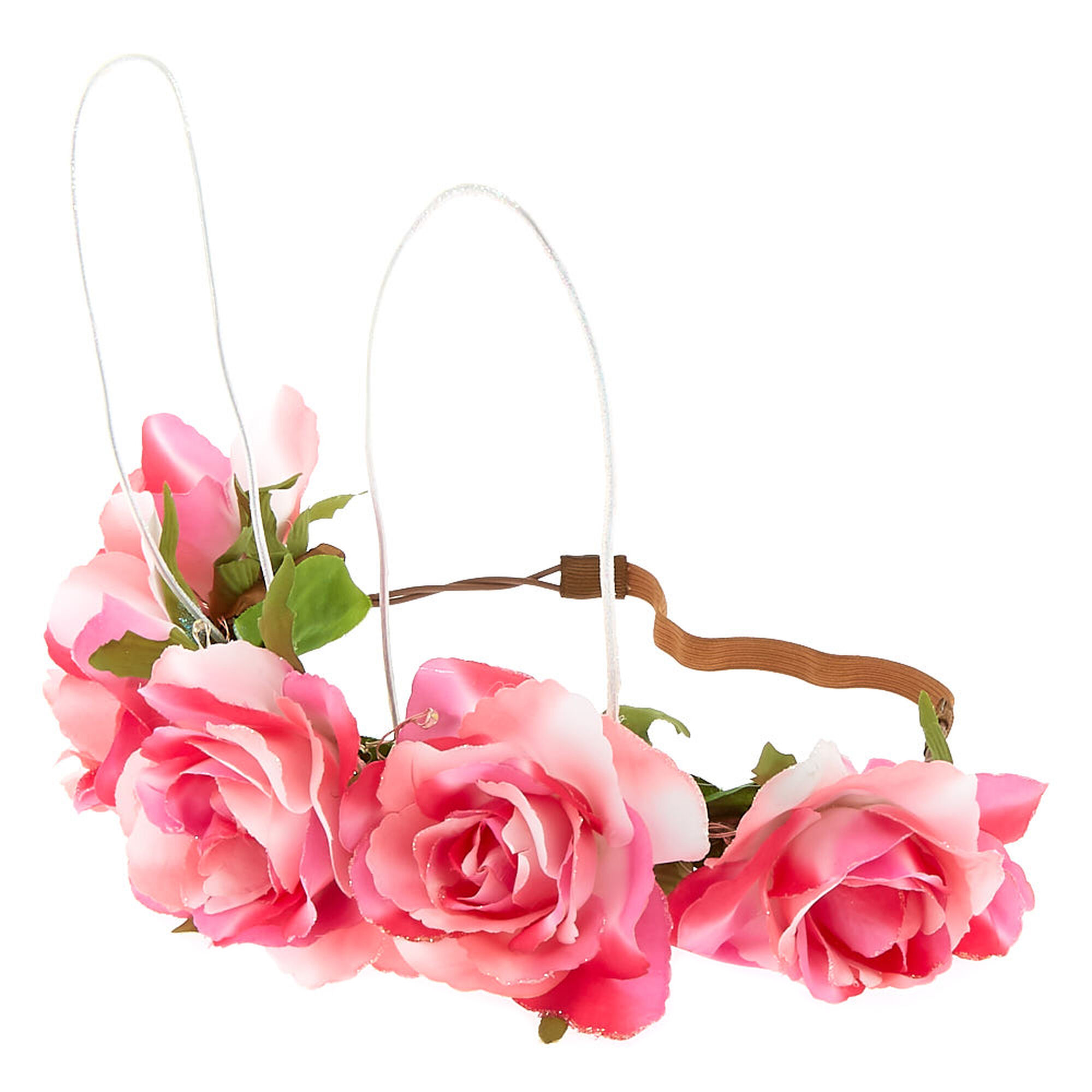 Light Up Bunny Ears Flower Crown Headwrap Pink Claires Us