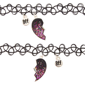 Best Friends Glitter Heart Tattoo Choker Necklaces - 2 Pack,