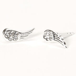 Sterling Silver Crystal Angel Wing Stud Earrings,