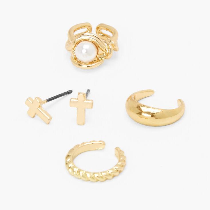 Gold Mixed Ear Cuff & Cross Stud Earrings - 4 Pack,