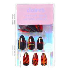 Plaid Stiletto Faux Nail Set - Red, 24 Pack,