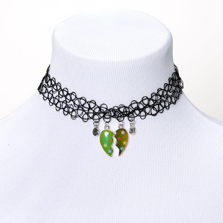 Best Friends Mood Broken Heart Floewr Sequin Tattoo Choker Necklaces - 2 Pack,