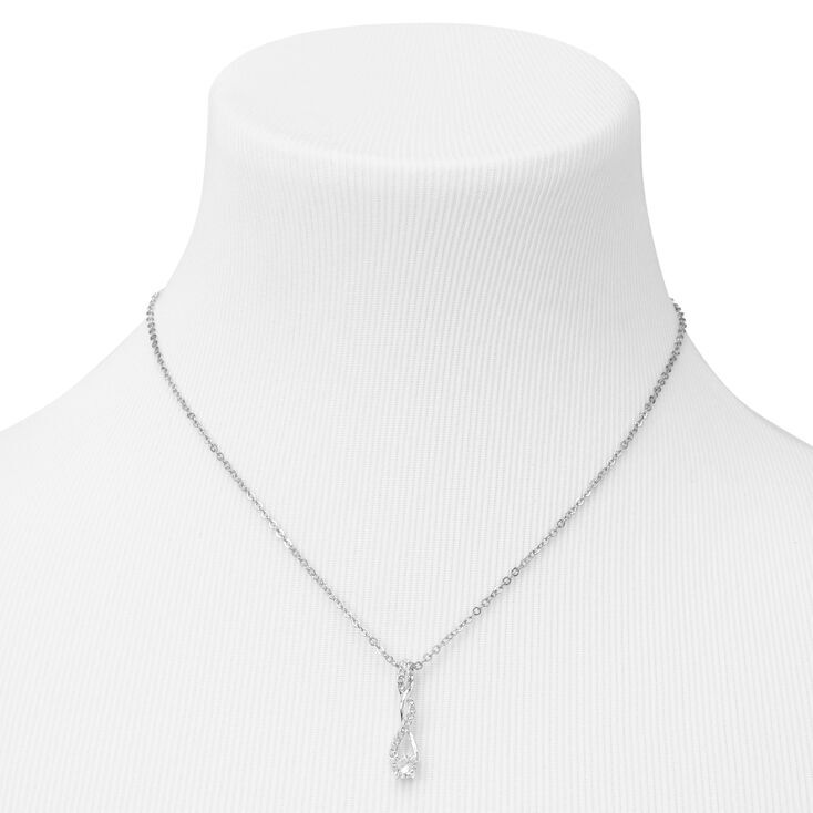 Silver Cubic Zirconia Twisted Pendant Necklace,