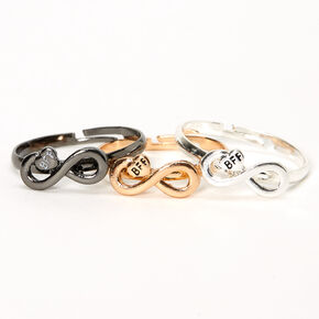 Mixed Metal Best Friends Infinity Rings - 3 Pack,