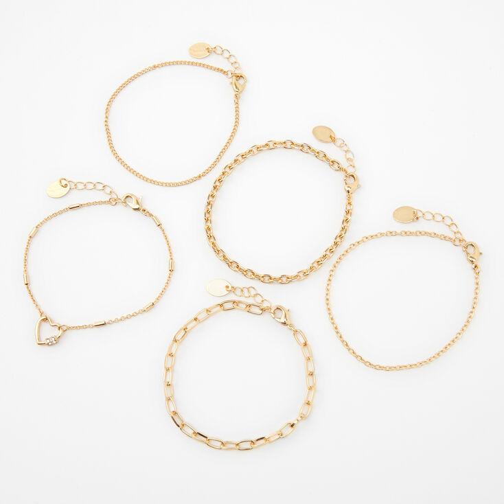 Bracelets chaînes aux designs variés couleur dorée - Lot de 5,