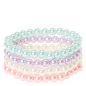 Claire's Club Pearl Beaded Stretch Bracelets - 4 Pack,