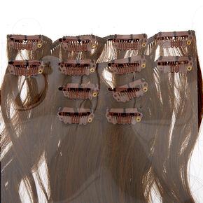 Extensions en cheveux synthétiques bruns ondulés à clip - Brun, lot de 4,