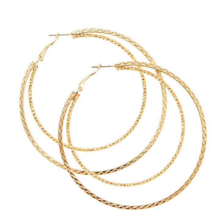 60mm Gold Textured Double Hoop Earrings