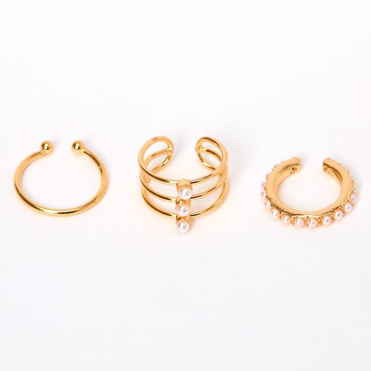 Diverses manchettes d'oreilles à perles d'imitation couleur dorée - Lot de 3,