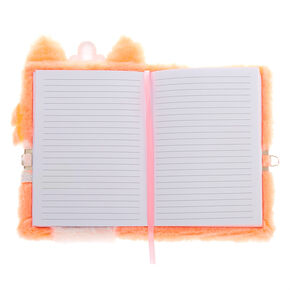 Queenie the Corgi Plush Lock Diary - Coral,