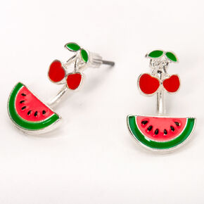 Cherry Watermelon Ear Jacket Earrings,