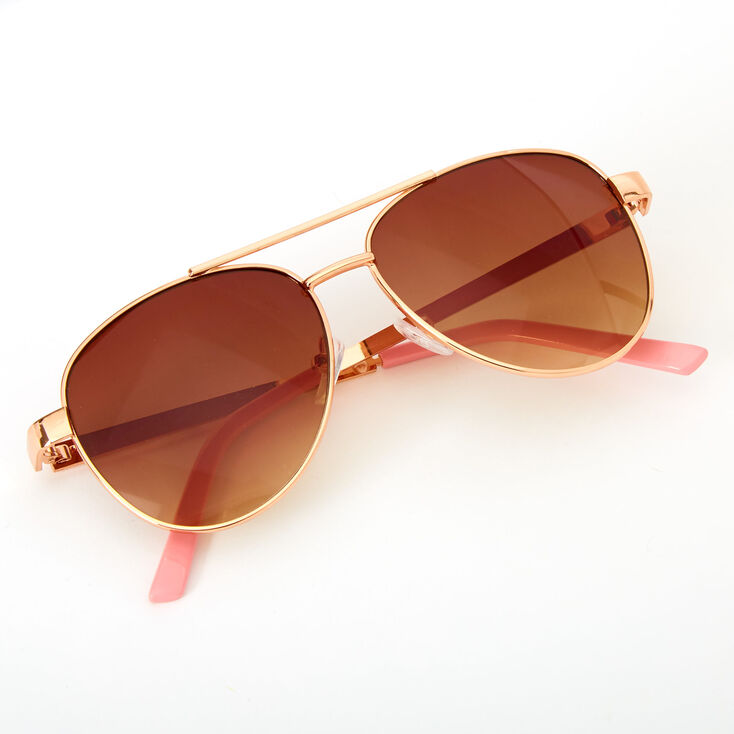 Claire's Club Embellished Aviator Sunglasses - Pink,