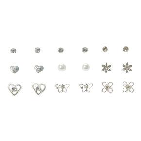 9 Pack Silver Floral, Pearl & Crystal Stud Earrings,