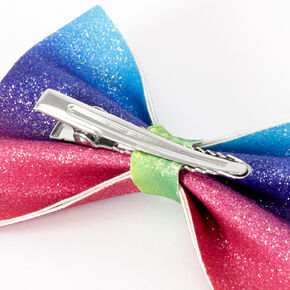 Rainbow Ombre Glitter Mini Hair Bow Clip,