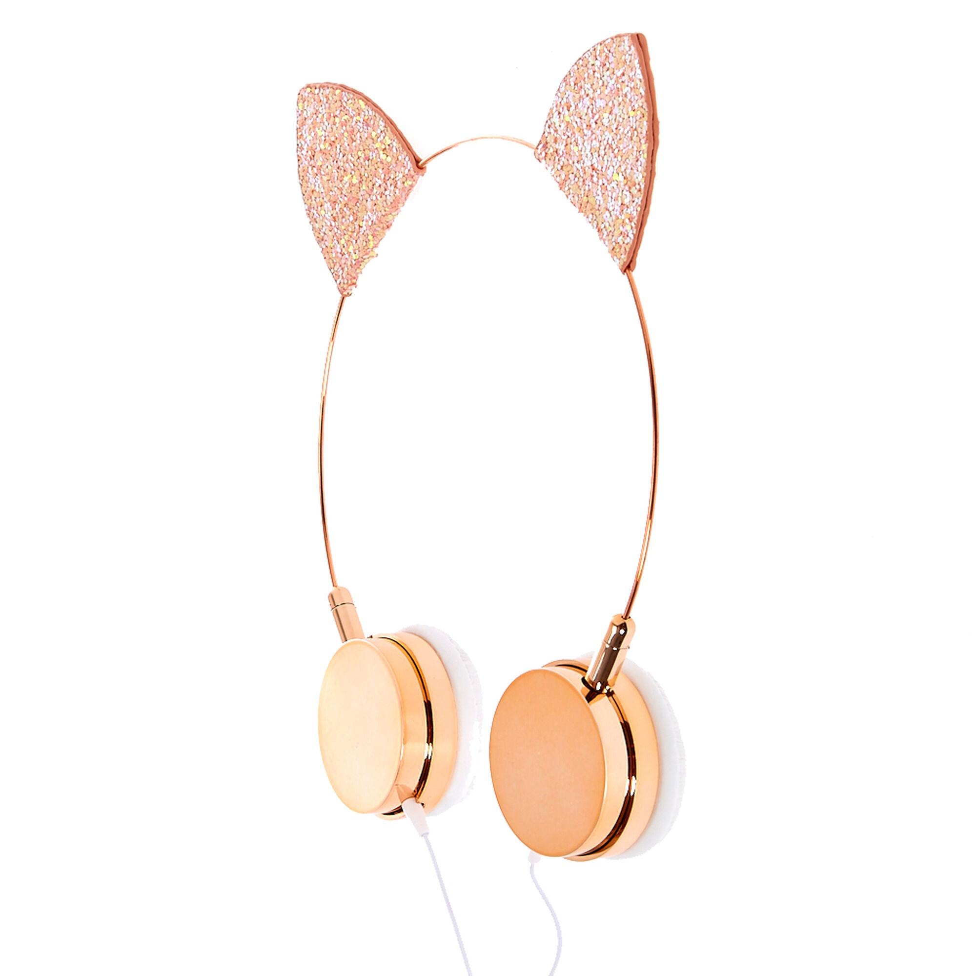 casque audio avec oreilles de chat rose brillant claire 39 s fr. Black Bedroom Furniture Sets. Home Design Ideas
