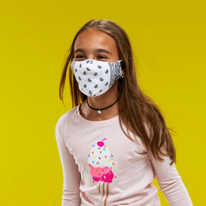 Cotton White Bandana Print Face Mask - Child Medium/Large,