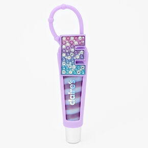 Initial Lip Gloss Tube - Purple, E,